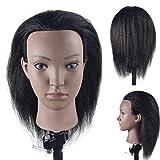 Tête de mannequin d'entraînement avec cheveux 100 % naturels, 40,6 cm (support de table inclus)