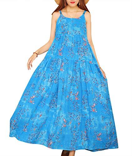 YESNO Women Casual Loose Bohemian Floral Print Empire Waist Spaghetti Strap Long Maxi Summer Beach Swing Dress XS-5X E75 (M, E75 As Picture34)