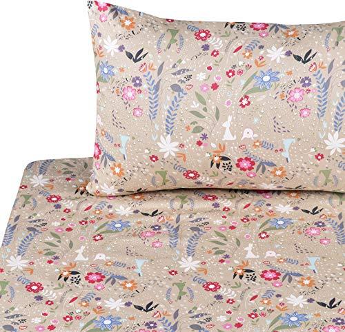 J-pinno Rabbit Flowers Grass Twin Sheet Set for Kids Boys Girls Children,100% Cotton, Flat Sheet + Fitted Sheet + Pillowcase Bedding Set