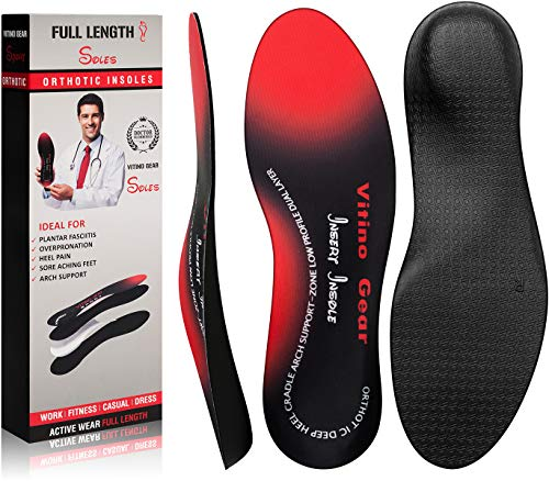 Orthotic Inserts with Arch Supports,Vitino Gear Full Length Cushioning Shoe Insoles-Alleviate Plantar Fasciitis,Flat Feet,Heel Spurs & Foot Pain,for Men and Women(Men's 9-9.5,Women's 11-11.5)
