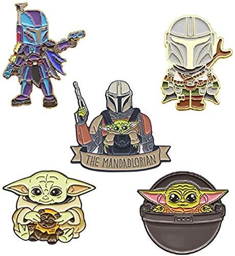 5 Stück Mandalorianische Emaille Pin Star Wars Metall Badge Baby Yoda Süße Brosche für Kleidung Tasche Jacke Rucksack Dekoration und Weihnachten Geburtstag Geschenk