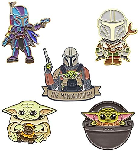 5 piezas Mandalorian Esmalte Pin Star Wars Insignia Metal Baby Yoda lindo broche para ropa bolsa chaqueta mochila decoración y regalo de cumpleaños de Navidad