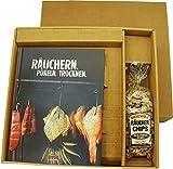 Räuchern Pökeln Trocknen haltbar machen Holz zum Rauch Chips im Geschenke Set mit Räucherchips Handbuch Anleitung Schritt für Fisch Fleisch Geflügel einfach Männergeschenk Geschenk für Männer