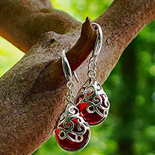 Recycled 1940's Red Beer Bottle Glass and Sterling Silver Filigree Teardrop Earrings