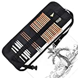 Professional Sketch Art Kit with Canvas Rolling Pouch, Drawing Pencils Tool Set Include Graphite Pencils, Charcoal Pencils, Paper Erasable Pen, Craft Knife-Lightwish