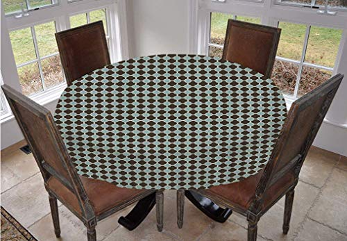 Abstract Round Tablecloth,Asian Civilizations Inspirations Soft Trellis Traditional Ethnic Pattern Decorative Polyester Table Cover,36 Inch,for Kitchen Dinning Tabletop Decoration Seafoam Dark Brown