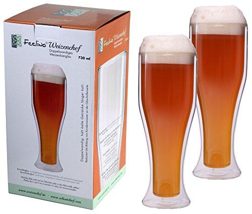 Weizenchef Aktion: 2X 730ml doppelwandige Weizenbiergläser, Biergläser, Thermogläser, Doppelwandgläser, ideal für den Sommer, hält kaltes länger kalt, Weizenbierglas Feelino