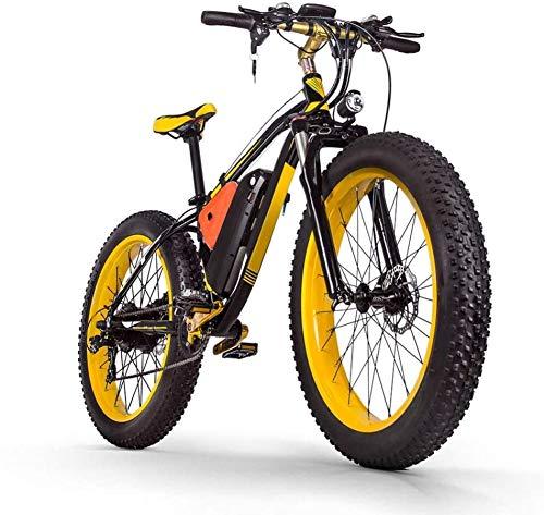 JIE 48v 16ah 1000w Electric Mountain Bike 26'' Fat Tire E-Bike 21 Speeds Beach Cruiser Mens Sports Mountain Bike Full Suspension Lithium Battery Hydraulic Disc Brakes(British Standard)