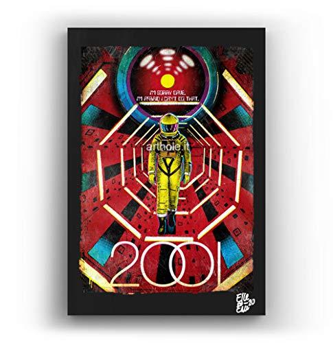 Arthole.it 2001 Odissea nello Spazio Film di Stanley Kubrick - Quadro Pop-Art Originale con Cornice, Dipinto, Stampa su Tela, Poster, Locandina, Fantascienza