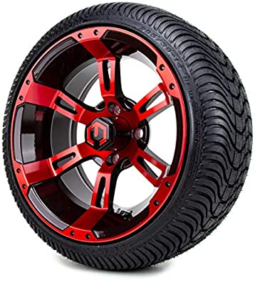 "14"" MODZ Ambush Red & Black Golf Cart Wheels and All Terrain Tires Combo Set of 4"