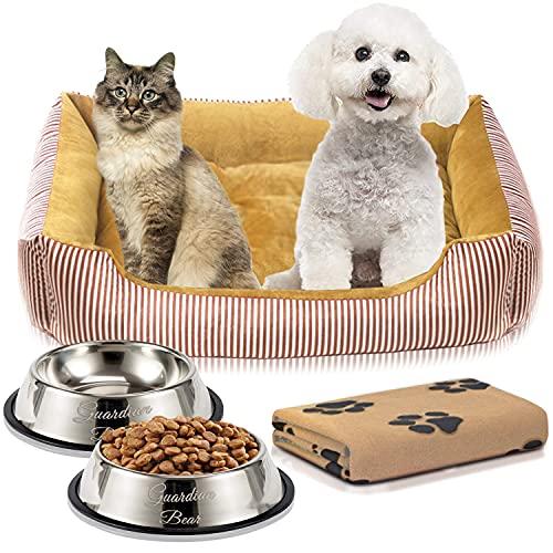 Cama Perro o Cama Gato 65x50cm con Comedero Perro, Bebedero Perro, Manta Perro. Pack 4 en 1 Básico para Mascotas Pequeñas y Cachorros