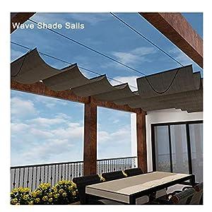 LJIANW Vela de Sombra Toldo Vela, Velas Wave Shade Retráctil, Actualización 2020 Toldo Corredero con Kit De Montaje for Cubierta De Pérgola Pabellón, 55 Tamaños (Color : Brown, Size : 0.5x3m)