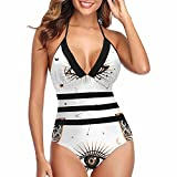InterestPrint Women's Sexy Self Tie Cross Cross High Cut One Piece Swimsuit Celestial Style with Eye XXL