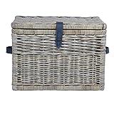 The Basket Lady Deep Wicker Storage Trunk, Large, 24 in L x 17 in W x 17.5 in H, Serene Grey