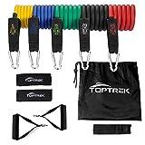 toptrek Resistance Bands Set Expander Widerstandsbänder Krafttraining 5-75 Ibs Theraband mit Griff, Pro 5 Fitnessbänder + Griffe,Türanker &...