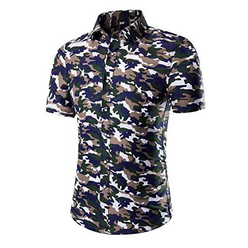 Camisa de Talla Grande con Estampado de Tendencia para Hombre, Ropa de Calle de Manga Corta, Informal, cómoda, Camisa de Contraste de Colores de Verano XL