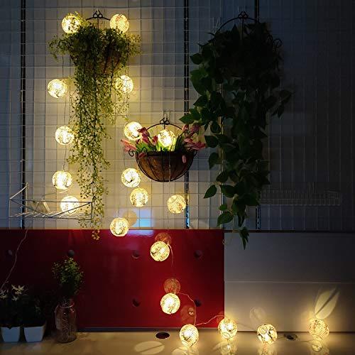 "JYWJ Red Sakura (Cherry) Flowers White Color Chinese/Japanese Small Paper Lantern/Lamp 3"" Diameter LED String Light Length 157.4"" 3-AA Battery Powered & USB Charger Gift for Kids (20 Lanterns)"