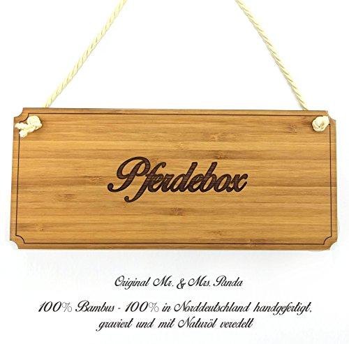 Mr. & Mrs. Panda Türschild Pferdebox Classic Schild - 100% handmade aus Bambus - Landhaus, Shabby, graviert Türschild, Schild, Türschild, Dekoschild, Deko, Einrichtung, Nostalgie, Geschenk Landhaus, Shabby, graviert