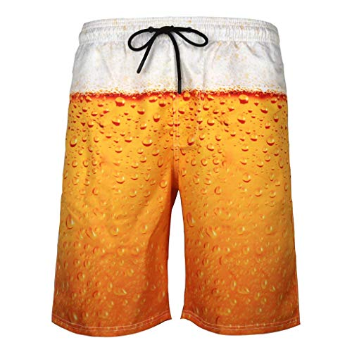 Harpily Herren Bier Hose 3D Print Strandhose Herren Sommer Badehose 3D Print Grafik LäSsig Sportlich Strand Kurze Hosen Druck Schnell Trocknend Hawaii Surf Schwimmhose Sporthose