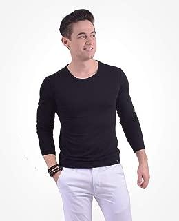 900401 - Camiseta Masculina Preta Manga Longa Gola Redonda