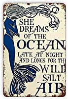 ブリキ メタル プレート サイン 2枚 ヴィンテージブリキサインマーメイド彼女は海の夢ヴィンテージ壁の装飾レトロアートブリキサインホームバーパブカフェファームルームメタルポスター12x8の面白い装飾