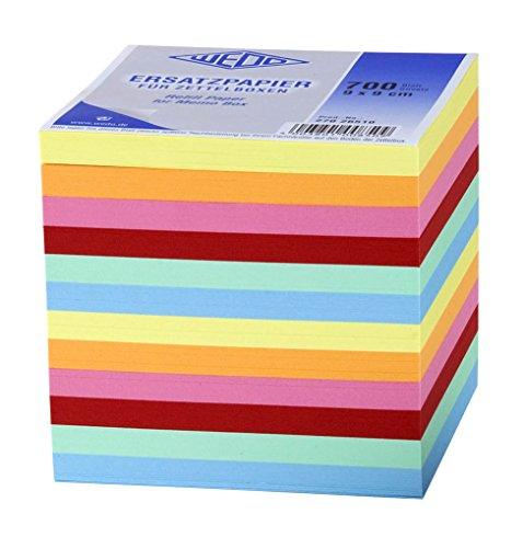 Wedo 27026510 Ersatzpapier (für Zettelbox, 9 x 9 cm, 700 Blatt, farbig)