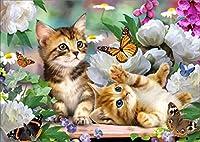 ダイヤモンドアート5DDIYダイヤモンド絵画蝶と猫の刺繡ダイヤモンドクロスステッチフルサーキュラーラインストーンの家の装飾