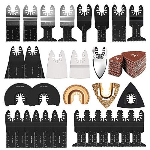 Nichhany Juego de Hojas de Sierra oscilantes de 82 Piezas, Kit de Accesorios oscilantes, Corte de Metal, Madera, plástico