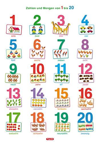 Fragenbär-Lernposter: Zahlen und Mengen von 1 bis 20 (in der Schulbuch-Druckschrift) L 70 x 100 cm: Gerollt, matt folienbeschichtet, abwischbar (Lerne mehr mit Fragenbär)