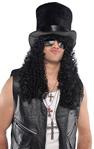 Slash Guns N' Roses Metal Head Curly Black Wig - Hat not included
