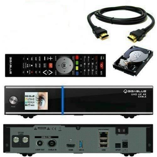 GigaBlue UE UHD 4K 2160p 1x DVB-C FBC Kabel Receiver + Single DVB-S2X Multistream Tuner inkl. 2 TB Festplatte