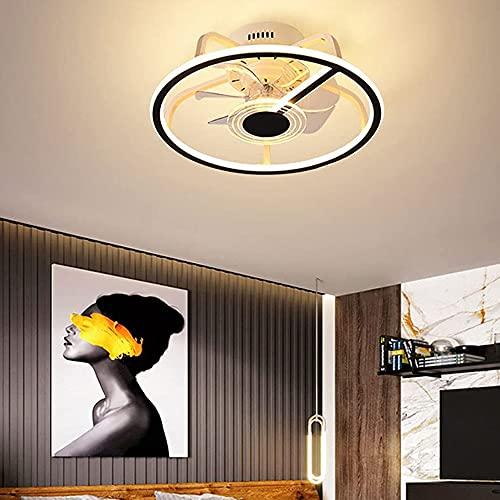 Plafón LED regulable con ventilador moderno, color negro, silencioso, con mando a distancia invisible, luces de ventilador de techo, para habitación de niños, salón, dormitorio, 52 W