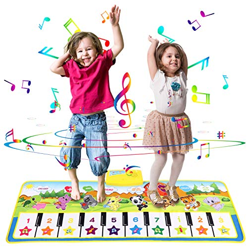 originalgem Child Piano Mat, Musical Piano Mat Keyboard Play Mat Portable Musical Blanket Instrument Toy with 8 Animal Sounds Dance Mat Educational Toy Gift for Kids Toddler Girls Boys2-8 years old