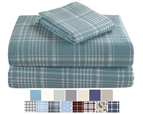 Morgan Home Fashions Cotton Turkish Flannel Sheets 100% Brushed Cotton for Supreme Comfort  Deep Pockets  Warm and Cozy Great for All Seasons REO Plaid Twin