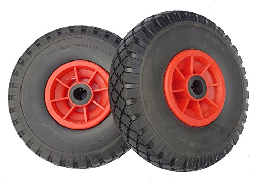 2 x Frosal PU Rad Sackkarre 260 mm 3.00-4 | 20 mm Achse | Sackkarrenrad Vollgummi | Ersatzrad Bollerwagen pannensicher | Reifen