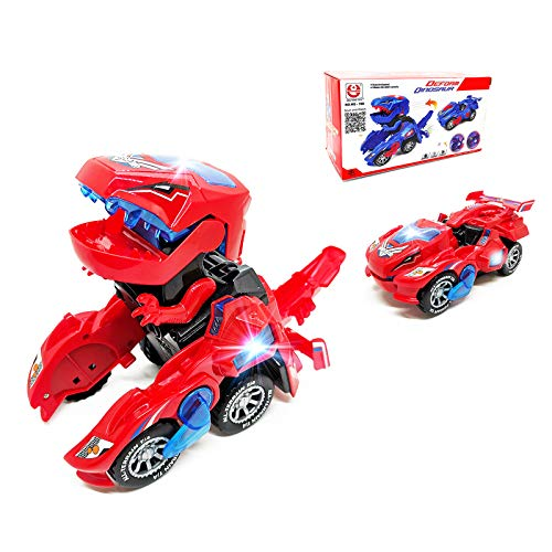 FUGZ Dinosaur Toys Gifts for 4-8 Year Old Boys, Transforming Toys, Dinosaur LED Cars Toys Combined Into One for Boys Toddlers Girls Kids Gifts.