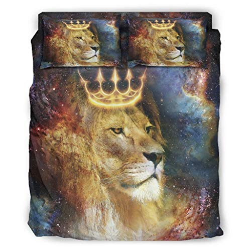 STAYSIMPLE Ton Coverlet Bedspread Lion Crown Microfiber Lightweight - 4 Piece Bed Sets for Boys Bedroom White King