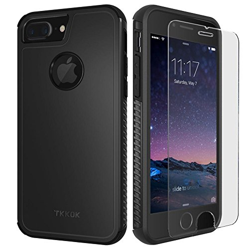 TKKOK TKKOK iPhone 7 Plus Case, Slim Dual Layer Heavy Duty Rugged Scratch-Resistant Shockproof Non-Slip Grip Protective Case Cover [Tempered Glass Screen Protector Included] for iPhone 7 Plus-Black