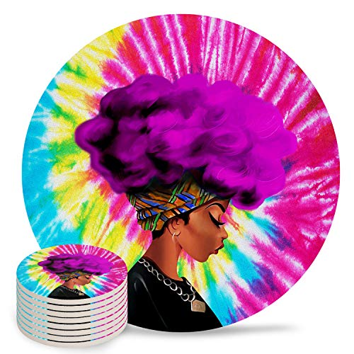 8-Piece Set Ceramic Coasters for Drinks,Traditional African Black Woman with Rose Red Hair Tie-dye Unique Absorbent Round Ceramics Cork Backed Cup Mat for Home/Housewarming Gift