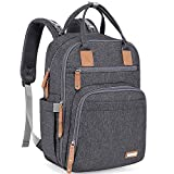 Diaper Bag Backpack, iniuniu Large Unisex Baby Bags Multifunction Travel Back Pack for Mom and Dad with Changing Pad and Stroller Straps, Dark Gray