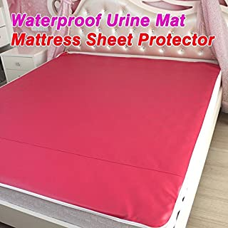 PU Leather Waterproof Mattress Sheet Protector Pad Cover Bed Washable Adults Children Kids Faux Leather Waterproof Urine Mat (queen-60
