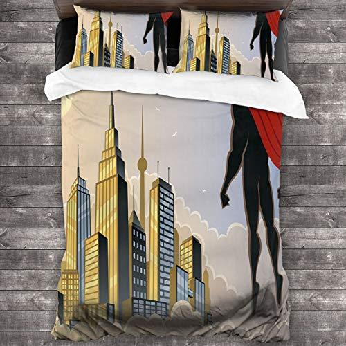 HARXISE Microfibra Juego de Cama Efectos 3 Piezas,Héroe Mirando la Ciudad en Las Nubes al Atardecer Protector Fantasy Architecture Design,1(140x200cm)+2(50x80cm)