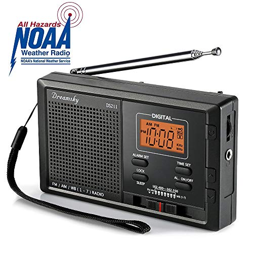 DreamSky Portable AM FM WB NOAA Weather Radio Alarm Clock, 12 /24H Time Display Backlight, Sleep Timer, Ascending Alarms, Built in Loud Speaker, Battery Operated Pocket Radios for Emergency