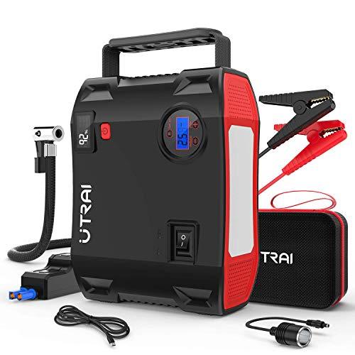 UTRAI Booster Batterie, Jstar 5 2000A 24000mAh Démarreur de Voiture avec Fonction de Gonfleur 150 PSI (Jusqu'à 8.0L Essence/6.5L Gazole) Jump Starter avec 2 Écran LCD Lumière d'Urgent...