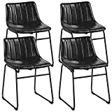 Yaheetech 18' PU Leather Dining Chairs Armless Chairs Indoor/Outdoor Kitchen Dining Room Chairs with Metal Legs Upholstered, Set of 4, Black