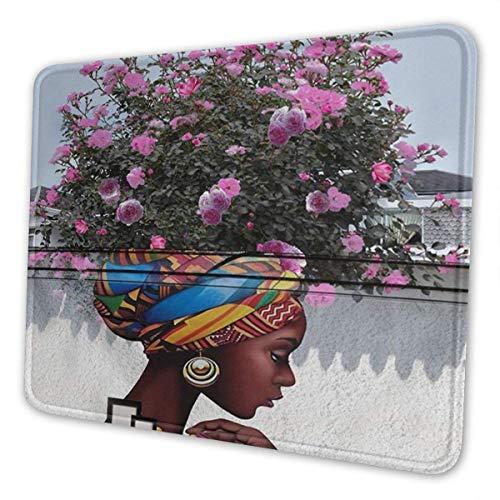Gaming Mouse Pad Afroamerikaner Afro Mädchen Frauen Haare Hippie dekorative Mousepad Matte Gummibasis Home Decor für Computer Laptop Office Home