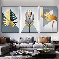 抽象的なキャンバスの壁の芸術抽象的な葉のポスターとプリント壁の写真北欧のリビングルームのリビングルームの家の装飾60x80cmx3フレームなし