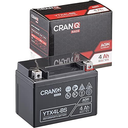 CranQ 12V 4Ah 55A AGM-Batterie YTX4L-BS Motorradbatterie rüttelfest Roller Starterbatterie leistungsstark, wartungsfrei