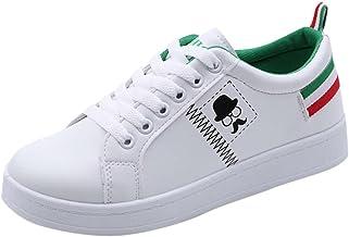 ZODOF Zapatos de Mujer de Moda Zapatillas de Deporte de Barba de Barba Planas Zapatos Blancos Casuales