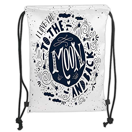 Fevthmii Drawstring Backpacks Bags,I Love You,When You Love Too Much Stylized Nature Elements Comet Happy Mood Design Decorative,Dark Blue White Soft Satin,5 Liter Capacity,Adjustable Strin